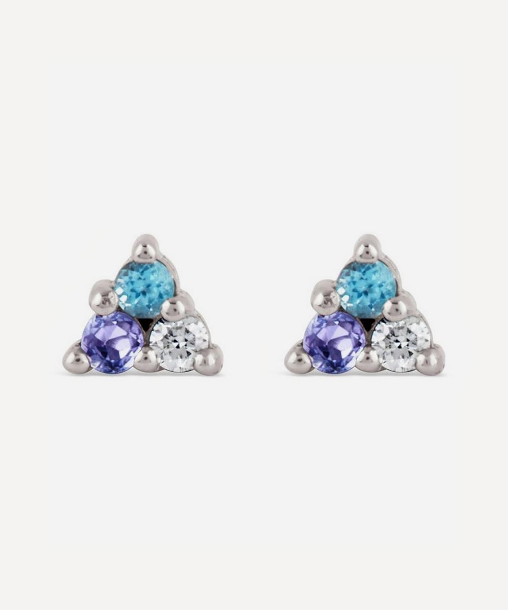 Dinny Hall - White Gold Shuga Mixed Stone Trillion Stud Earrings