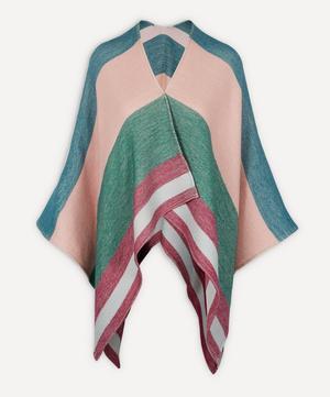 Wide Stripe Wool Cape