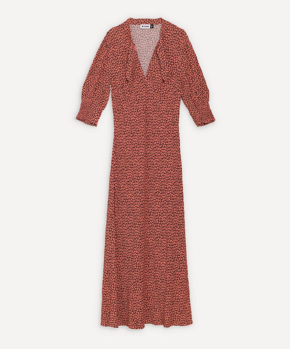 RIXO - Isabella Tie-Neck Midi-Dress