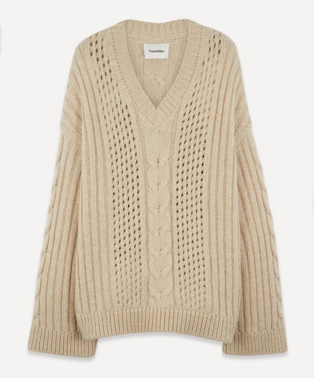 Nanushka - Arwan Cable-Knit V-Neck Sweater