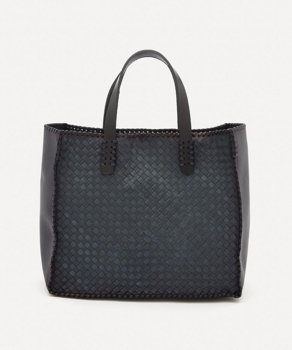 Dragon Diffusion - Small Interlaced Polo Box Woven Leather Tote Bag