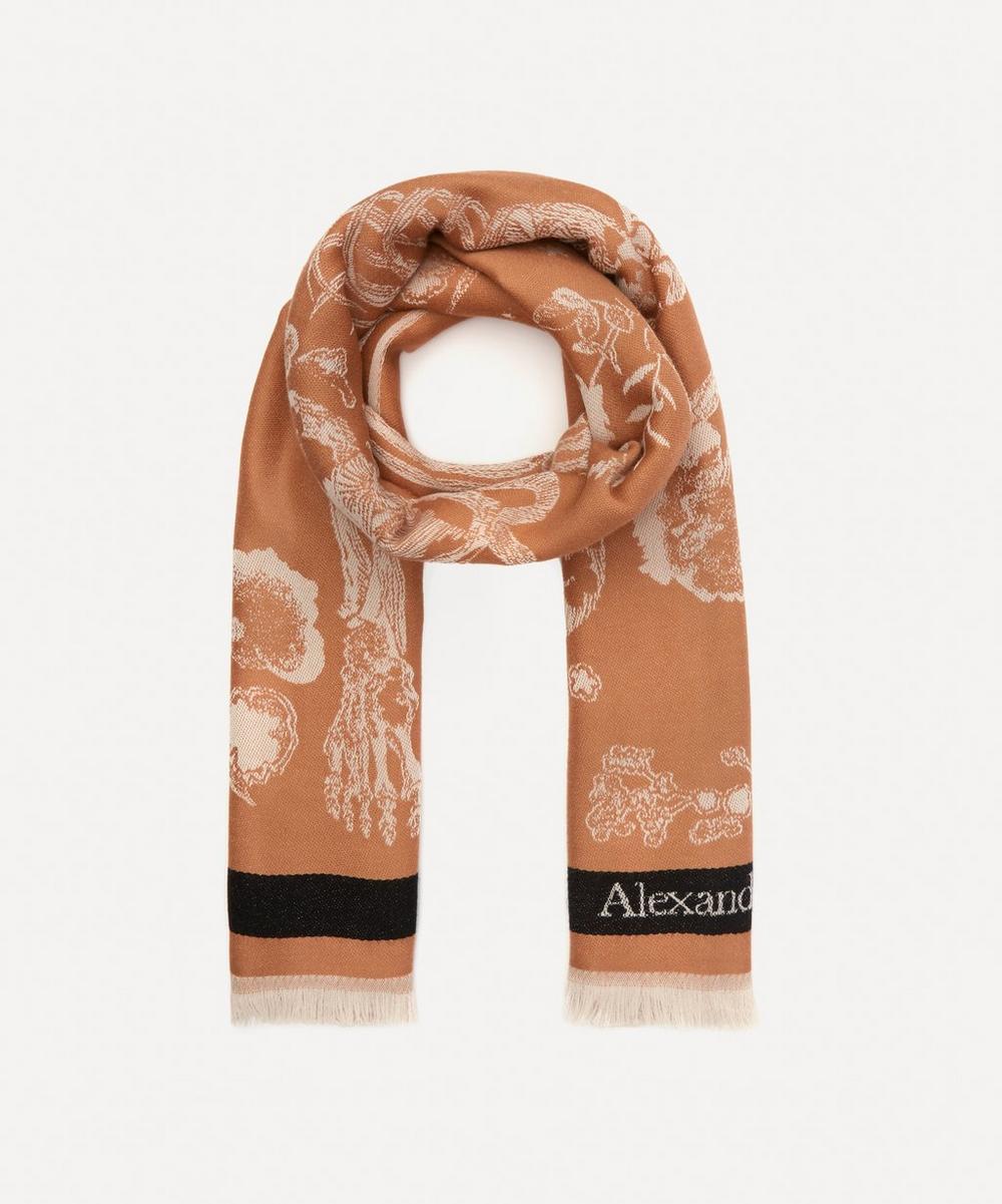 Alexander McQueen - Botanical Skeleton Jacquard Wool Scarf