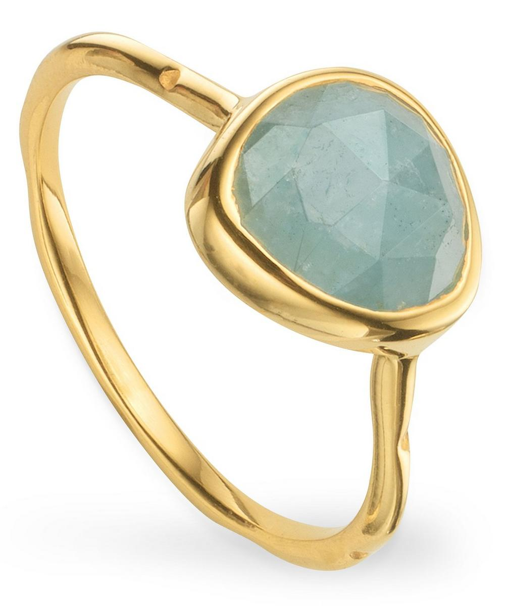 Monica Vinader - Gold Plated Vermeil Silver Siren Aquamarine Stacking Ring