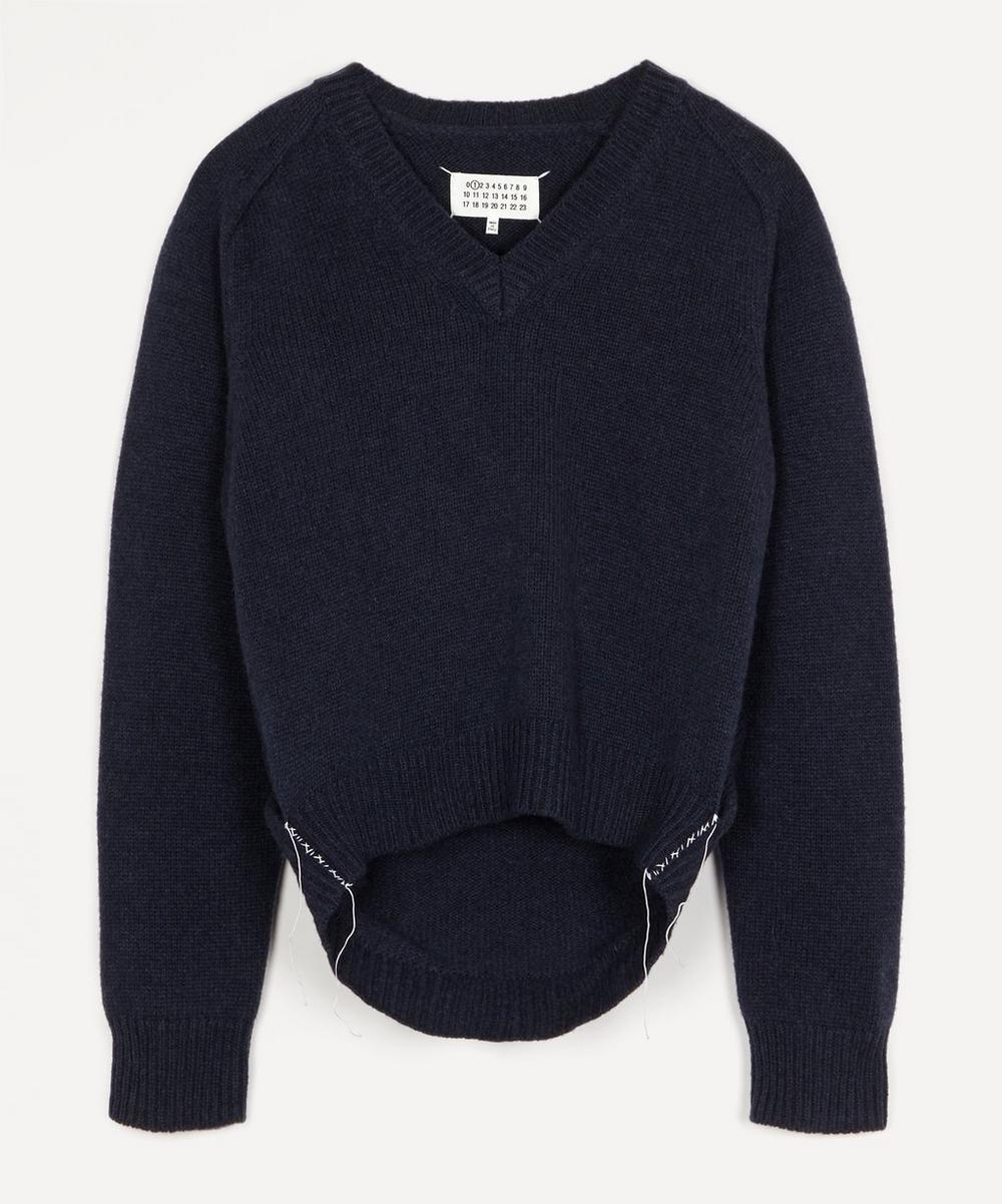 Maison Margiela - V-Neck Contrast Thread Knit Jumper