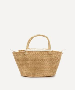 Panier Woven Straw and Cotton Tote Bag