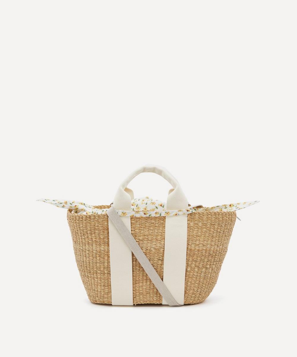 Muuñ - George Woven Straw and Harmony Print Cotton Tote Bag