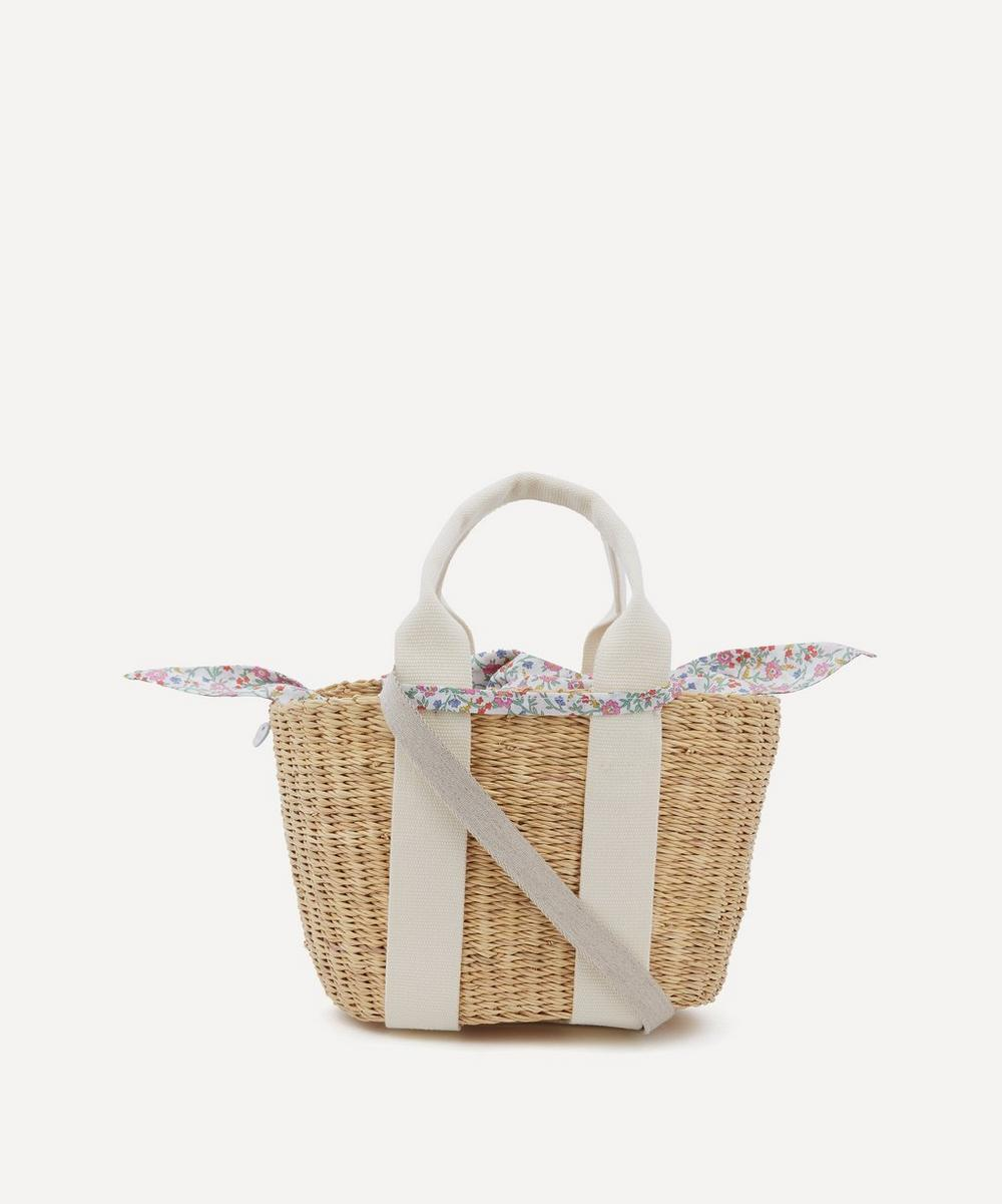 Muuñ - Mini Caba Woven Straw and Hannah Fay Print Cotton Tote Bag