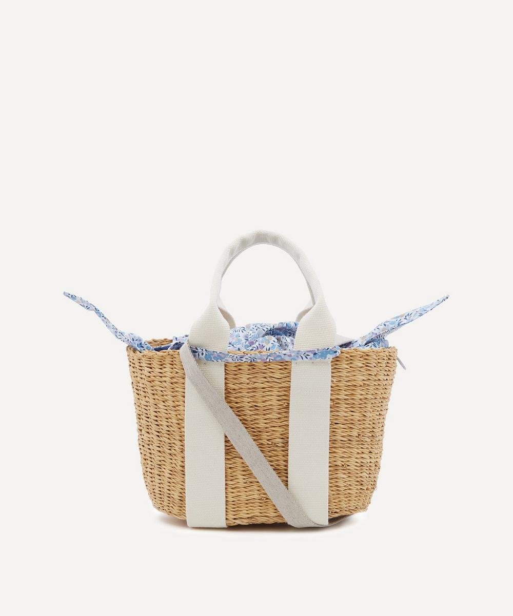 Muuñ - Mini Caba Woven Straw and Wiltshire Print Cotton Tote Bag