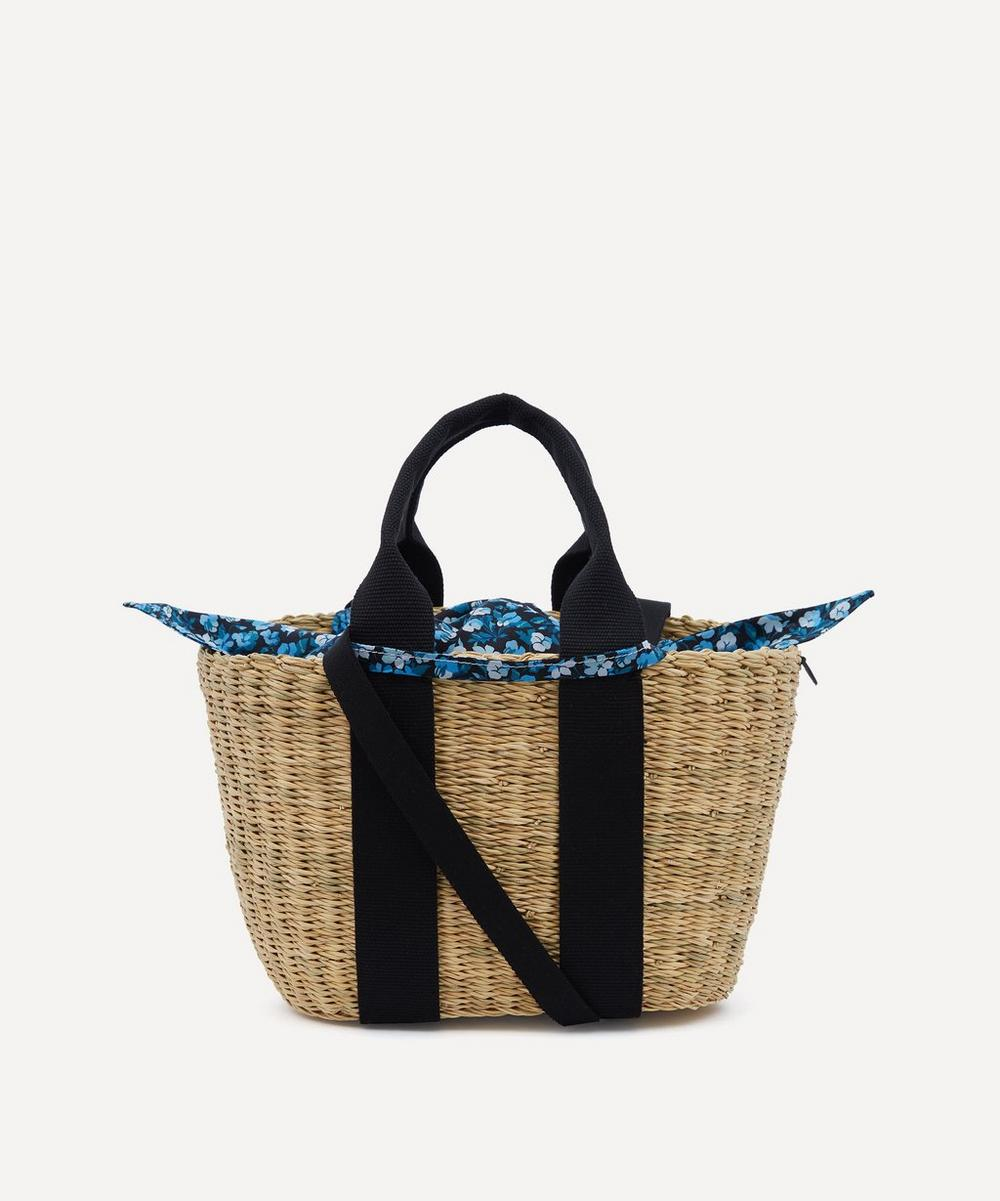 Muuñ - Mini Caba Woven Straw and Sarah Print Cotton Tote Bag