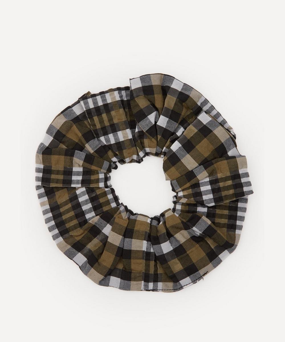 Ganni - Seersucker Check Cotton-Blend Scrunchie