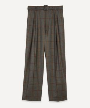 Belted Check Wool Trousers