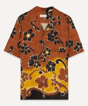 Camp-Collar Floral Print Satin-Twill Shirt
