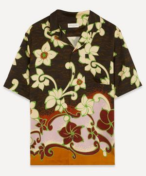 Camp-Collar Floral Print Satin-Twill Shirt