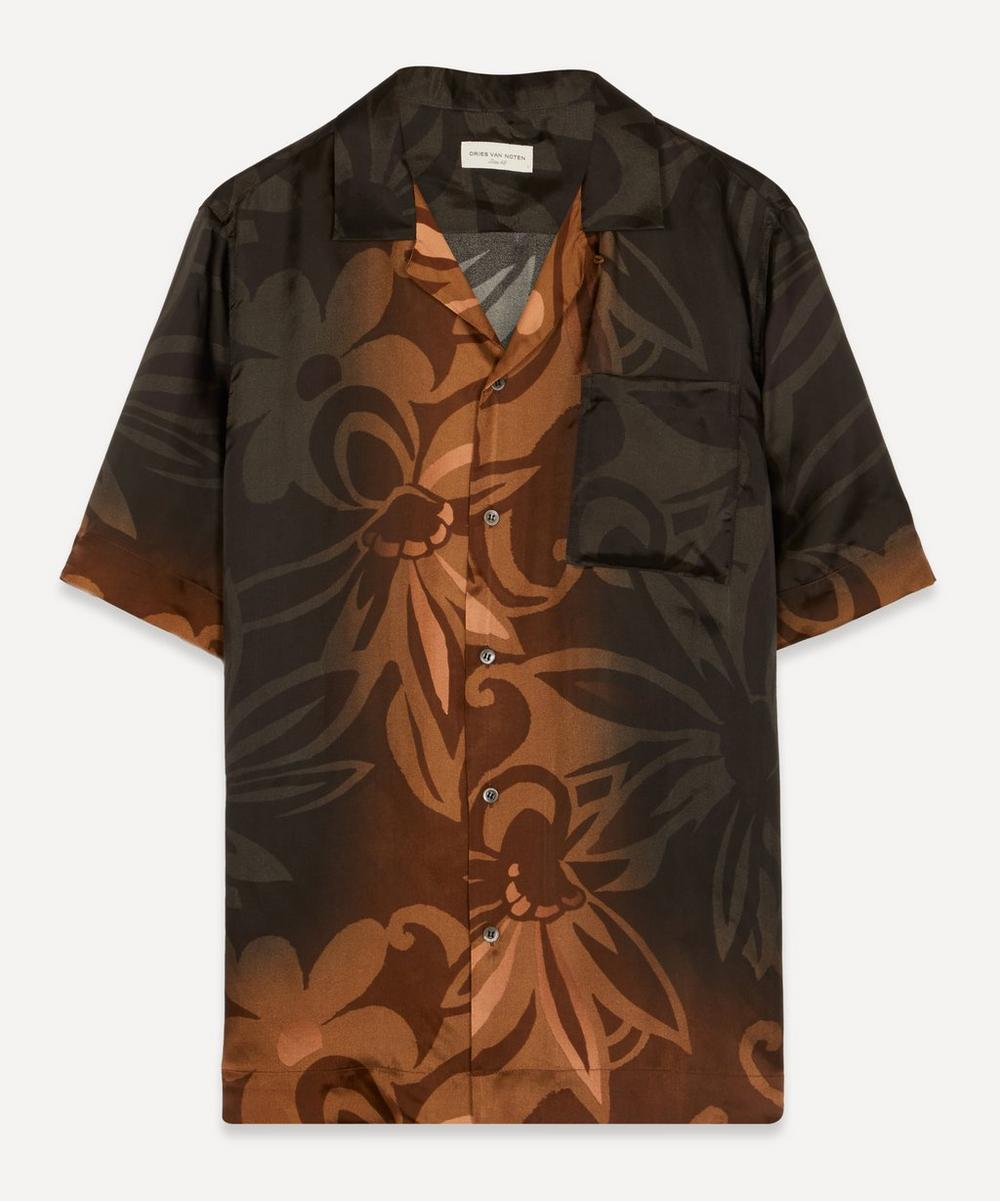 Dries Van Noten - Camp-Collar Tonal Floral Satin-Twill Shirt