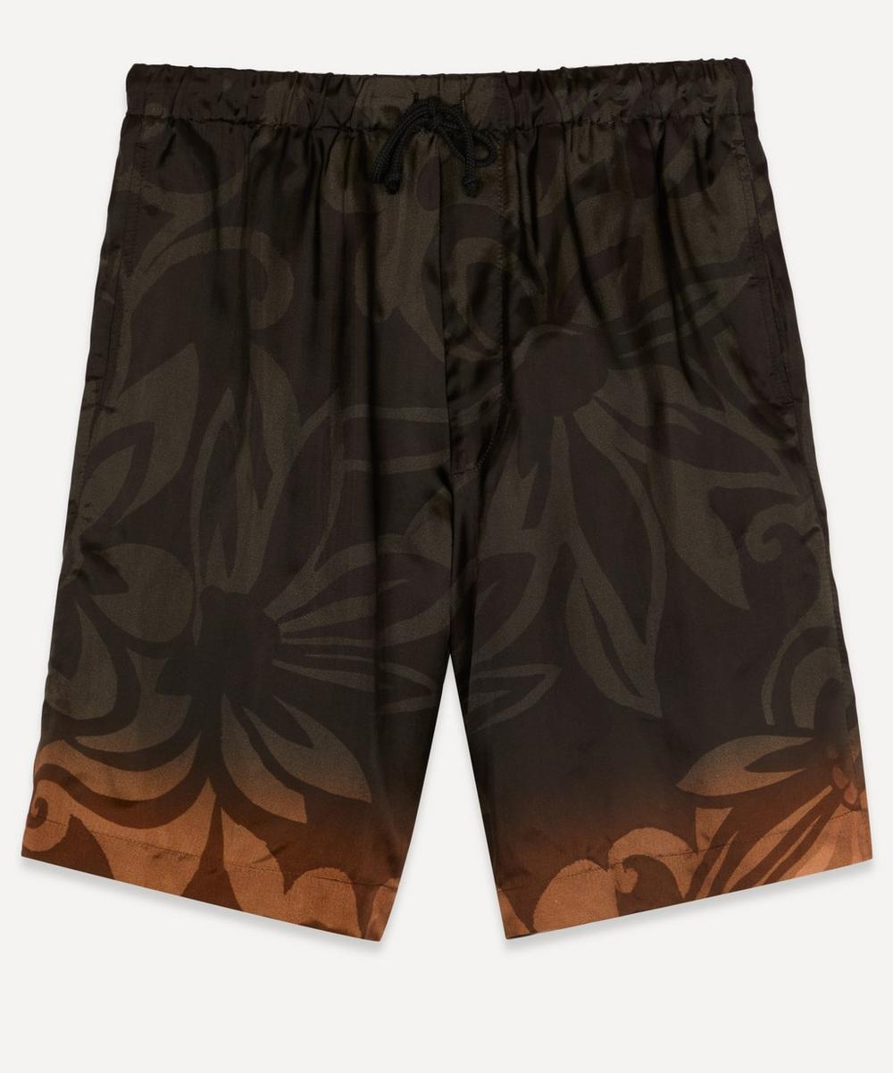 Dries Van Noten - Floral Print Satin-Twill Drawstring Shorts
