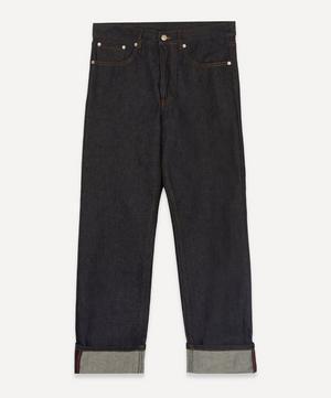Wide-Leg Raw Jeans