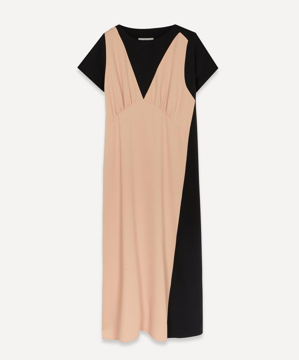 MM6 Maison Margiela - Contrast Panel Crepe Midi-Dress