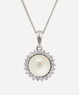 White Gold Pearl and Diamond Cluster Pendant Necklace
