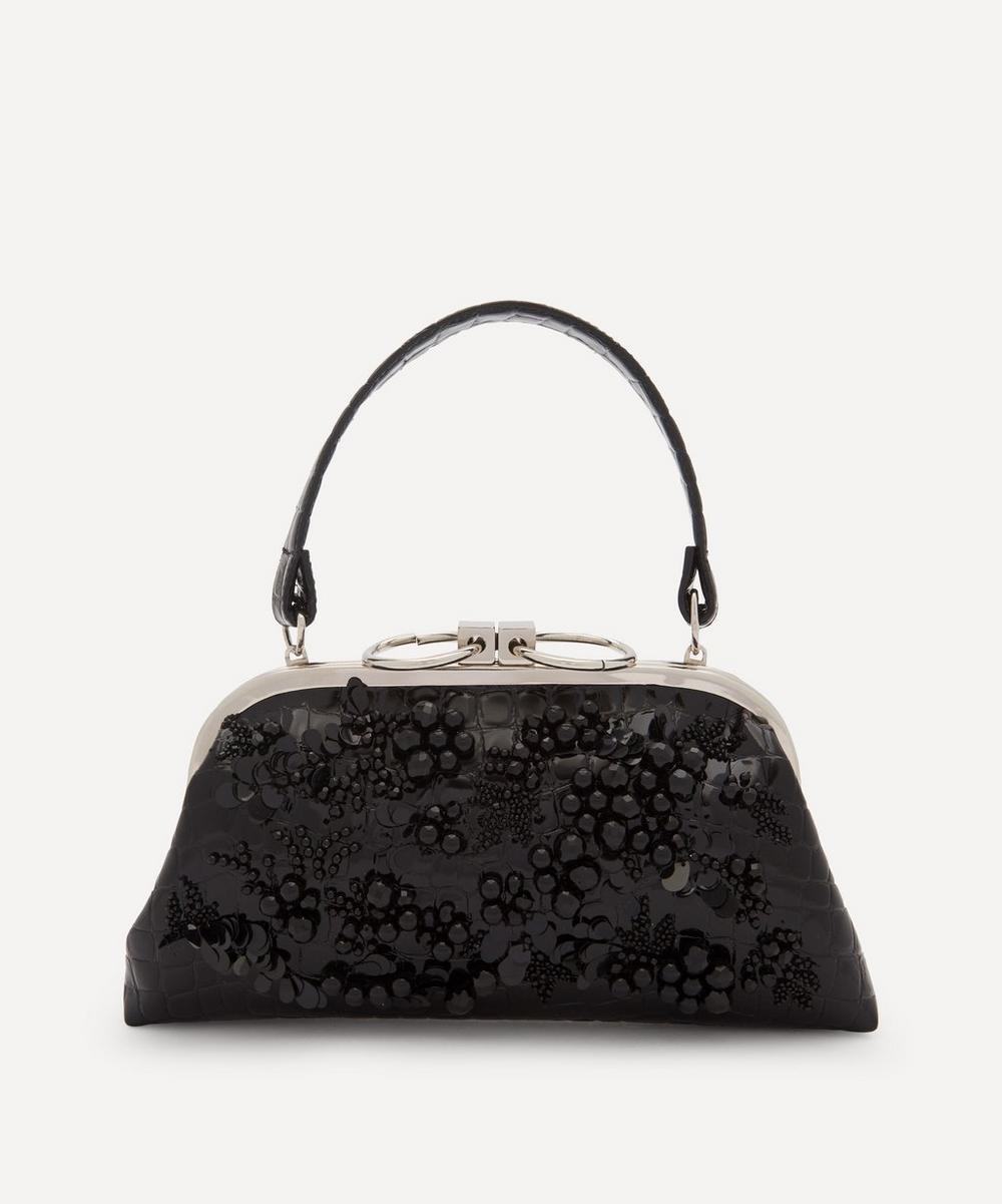 Erdem - Beaded Croc-Effect Faux Leather Clutch Bag