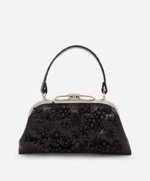 Beaded Croc-Effect Faux Leather Clutch Bag