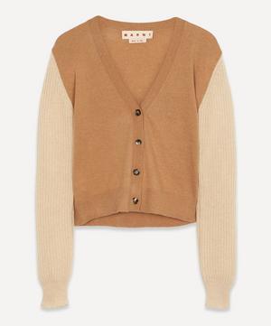 Contrast-Sleeve Cashmere Cardigan