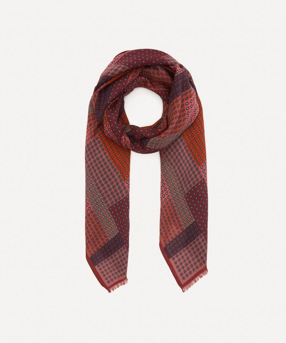 Drakes - Patchwork Print Wool Scarf
