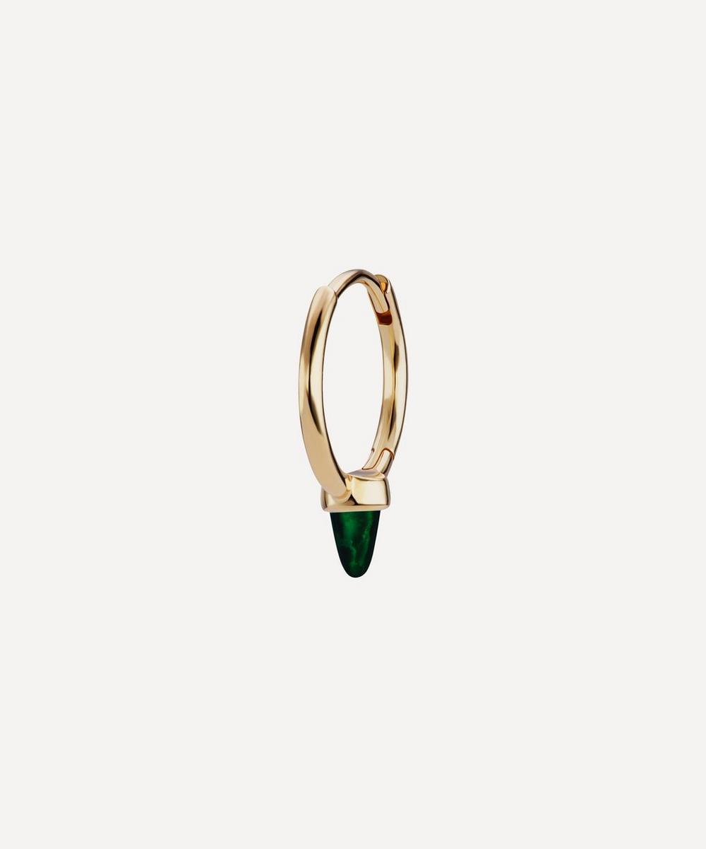 Maria Tash - 9.5mm Single Black Opal Short Spike Non-Rotating Hoop Earring