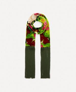 Fulia Floral Velvet Fringed Scarf