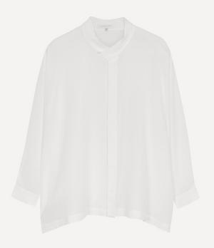 Crepe Pleat Collar Shirt