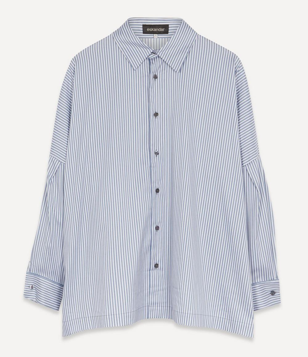Eskandar - Twill Stripe Sloped Shoulder Shirt