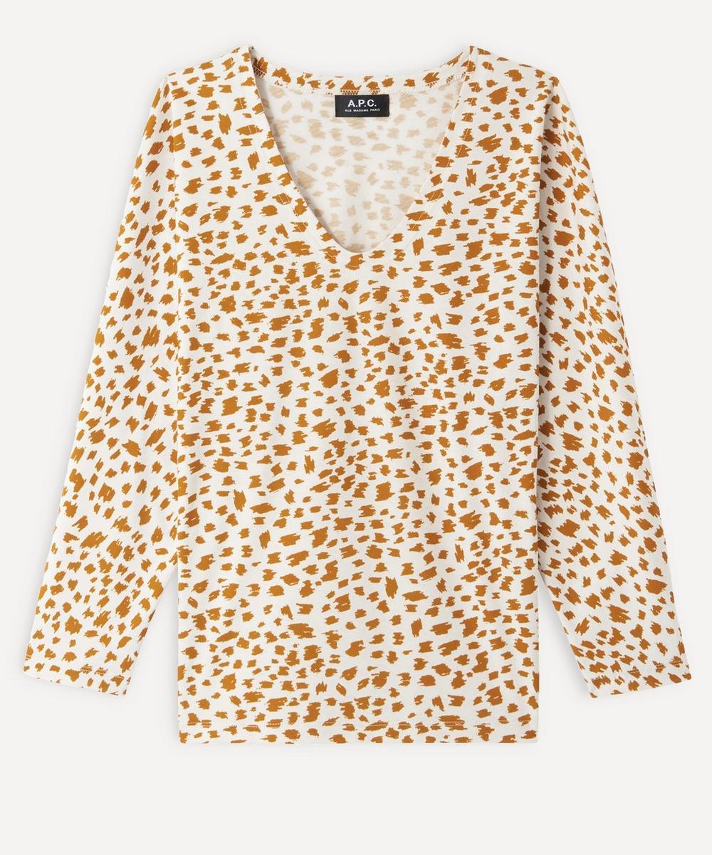 A.P.C. - Mila Patterned V-Neck Long-Sleeved T-Shirt