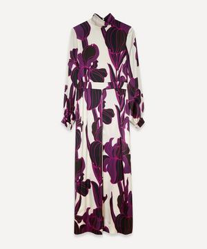 Runway High-Neck Floral Silk Dress