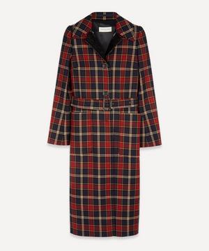 Leather Lapel Check Coat