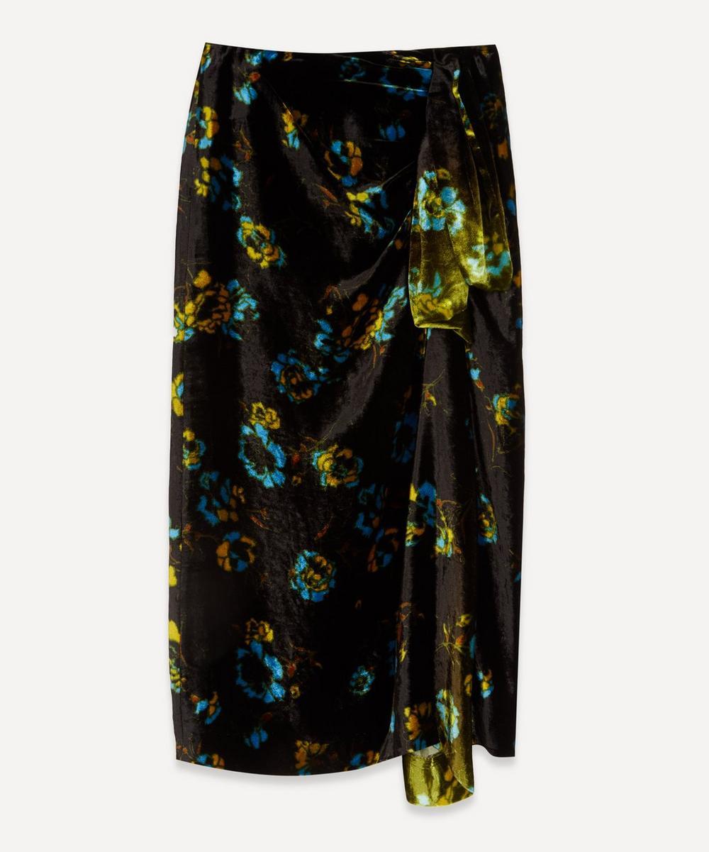 Dries Van Noten - Floral Velvet Draped Midi-Skirt