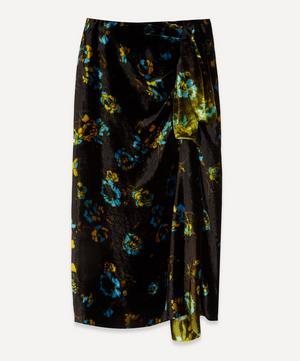 Floral Velvet Draped Midi-Skirt