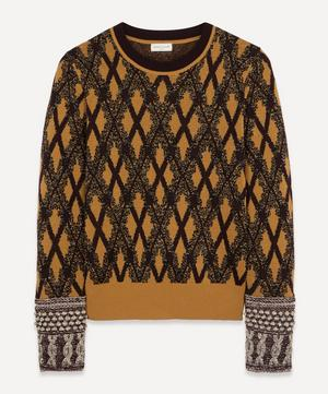 Lurex Diamond Grid Crew-Neck Knit