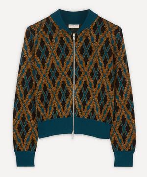 Lurex Diamond Grid Zip-Up Knit