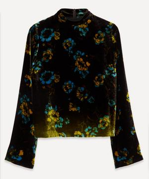 Velvet Floral Wide-Sleeve Top