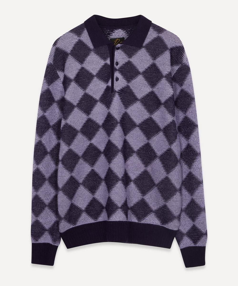 Needles - Diamond Check Wool Polo Jumper