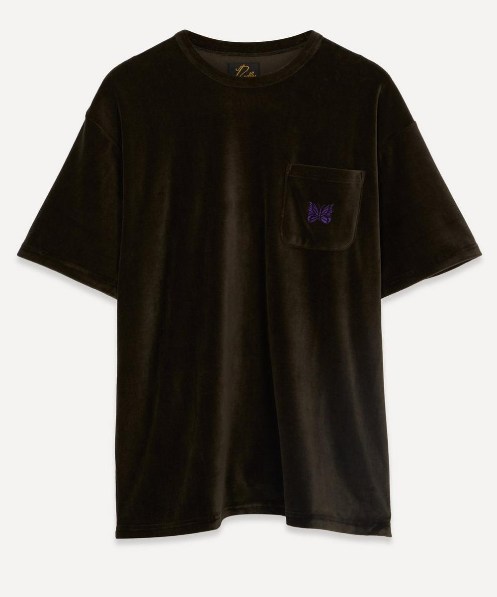 Needles - Papillon Logo-Embroidered Velour T-Shirt