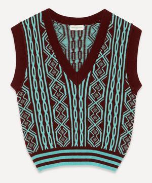 Cropped V-Neck Wool Sweater Vest