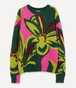 Oversized Floral Knit Jumper