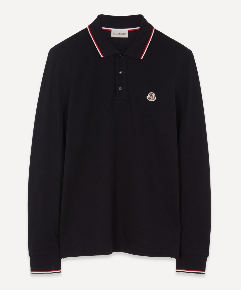 Moncler - Striped-Trim Long-Sleeve Polo Shirt