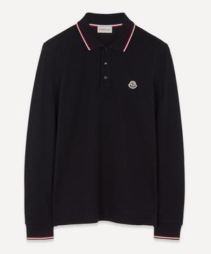 Striped-Trim Long-Sleeve Polo Shirt