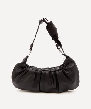 Draped Leather Baguette Shoulder Bag