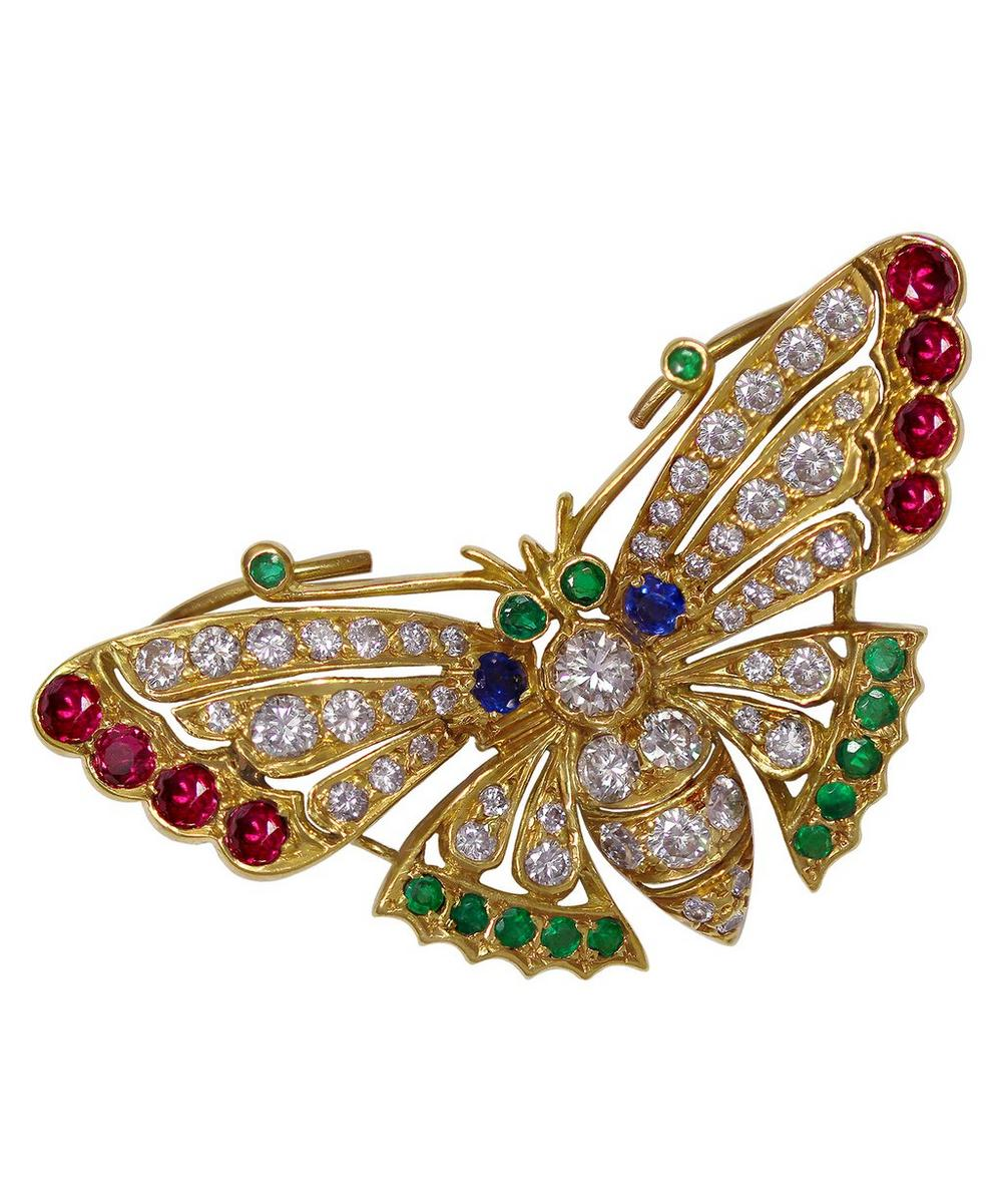 Kojis - Gold Mixed Stone Butterfly Brooch