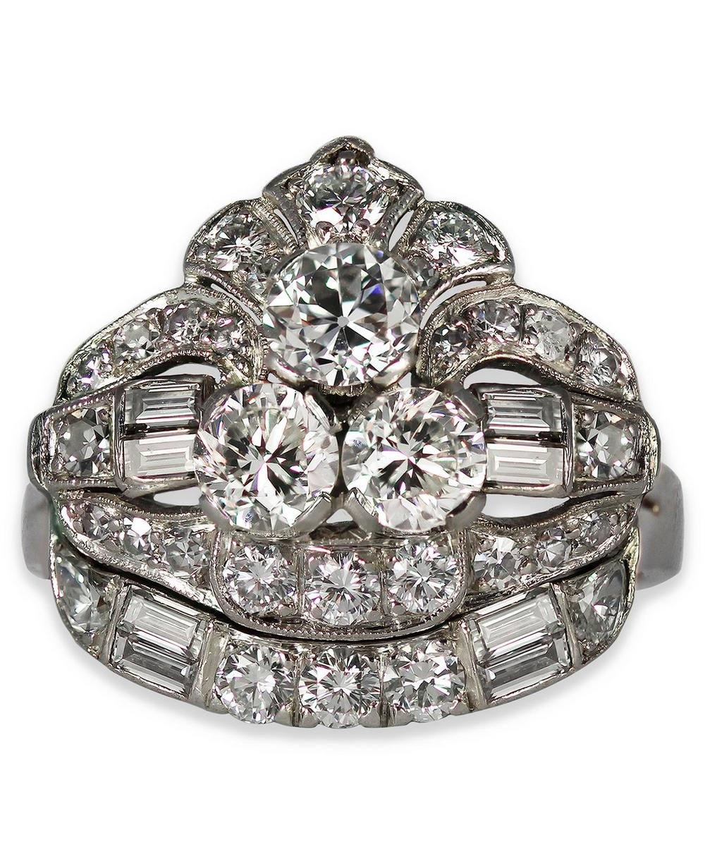 Kojis - White Gold Art Deco Diamond Cocktail Ring