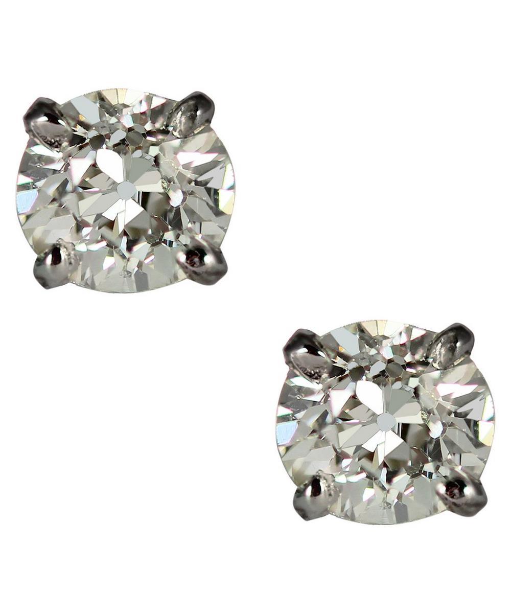 Kojis - Platinum 1.31ct Old Cut Diamond Stud Earrings