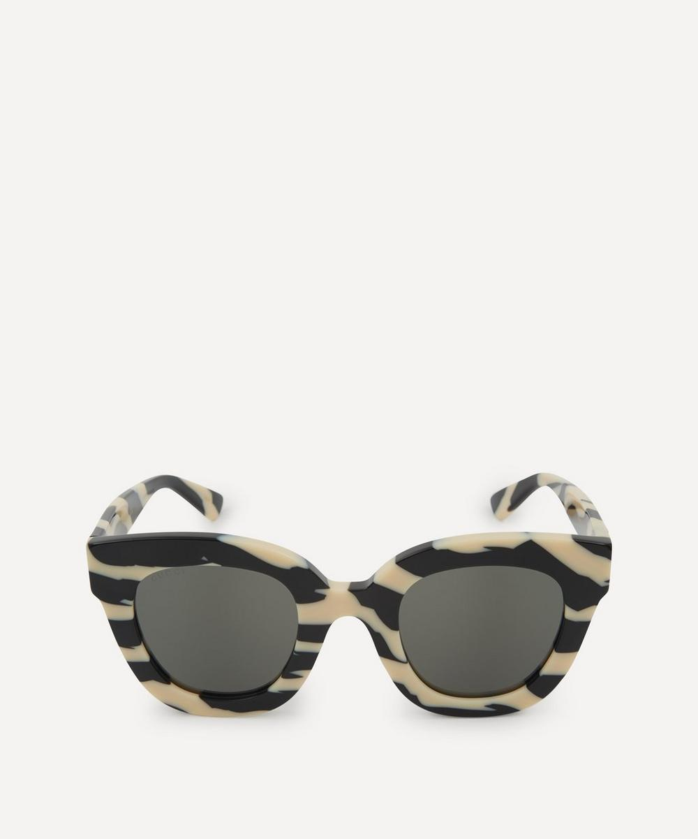 Gucci - Oversized Striped Acetate Sunglasses