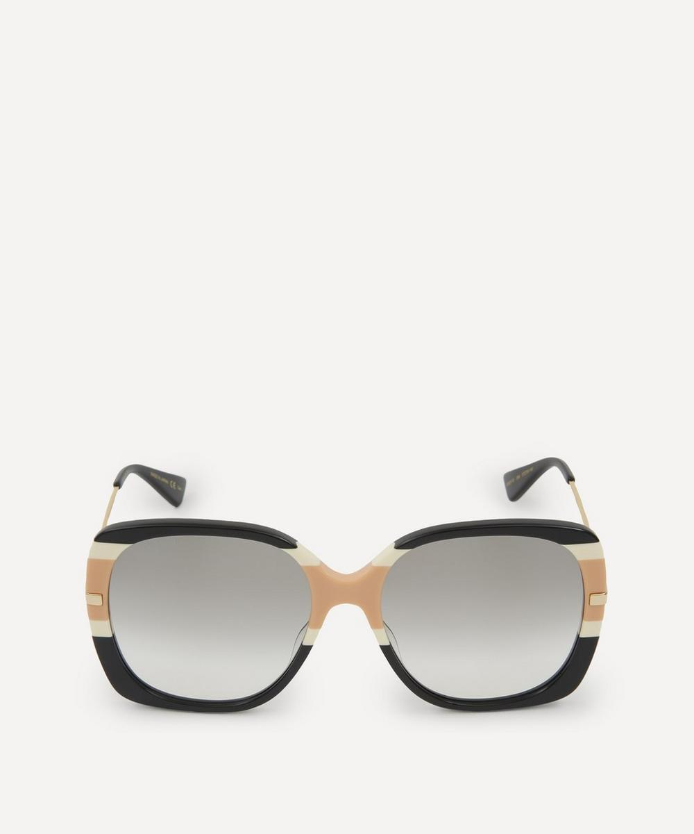 Gucci - Oversized Square Web Stripe Sunglasses